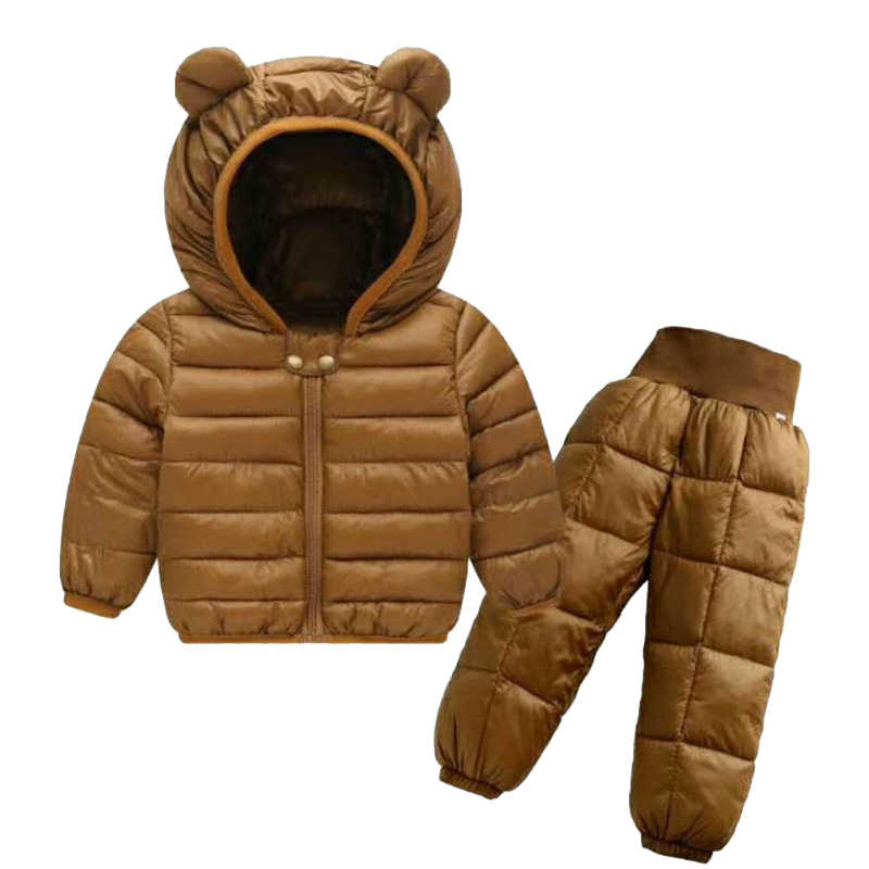 8896ae860 ... Baby Winter Coat+Pants Set Kids Casual Solid Hooded Down Jacket  Overalls Snow Suit Warm ...