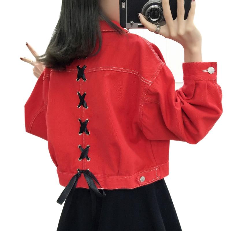 Manteau Harajuku Femelle Solid Surdimensionnée New Veste pourpre Chaquetas Jeans Kaki Vintage Slim Femmes rouge Laçage Printemps Lâche Bf 2019 Denim Lu822 Mujer Ov0xwq