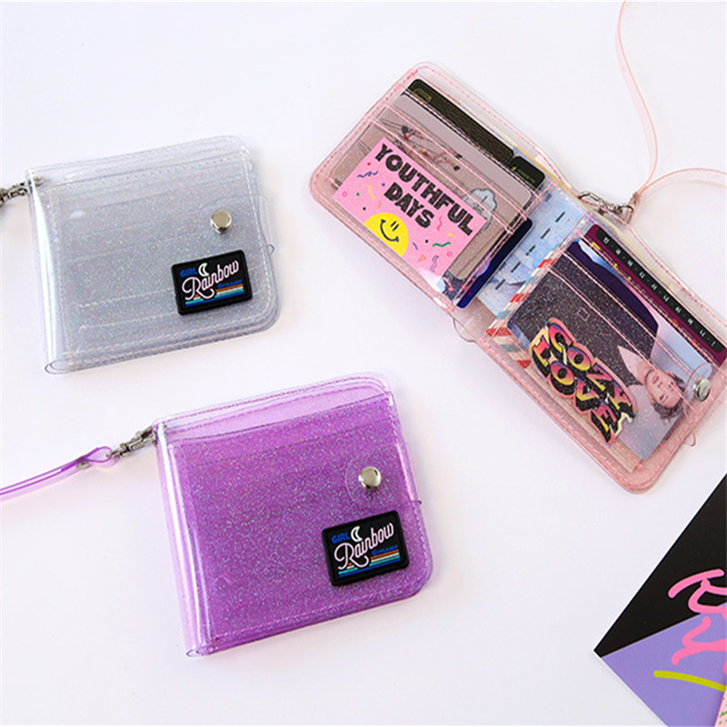Pvc Glitter Transparent Card Wallet Ladies Neck Bag Lanyard Pouch Cute Photo Shiny Clear Purse Women Plastic Small Wallet Female wallet