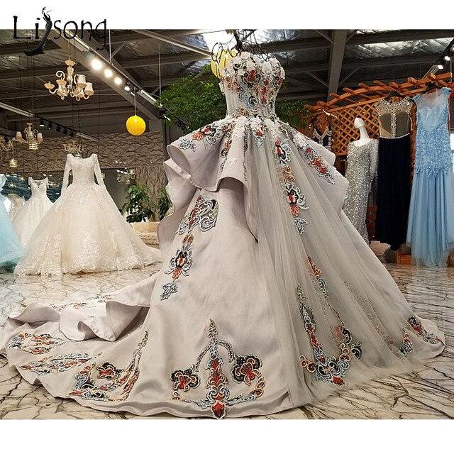 Vintage Dubai Light Gray Wedding Dresses 2018 Delicate Embroidery ...