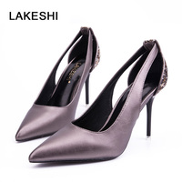 LAKEHSI Super High Heels Shoes Women Pumps Plating Side Hollow Out Bling Elegant Party Slip On