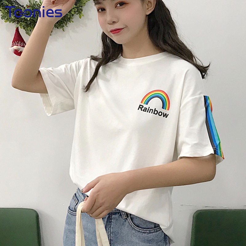 2018 New Summer Korean Style Short Sleeved Tops Tees Harajuku Rainbow Printed Cartoon Student T-shirt Women Casual Tshirt Female