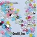 ( 1000 unids/lote ) 12 mm colores AB posterior plana redonda de la media perlas de perlas de imitación de oficios decoración