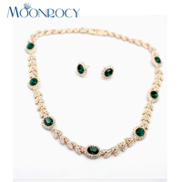 MOONROCY Rose Gold Color Cubic Zirconia Green Austrian Crystal Bride Necklace Earring Wedding Jewelry Set for Women Gift