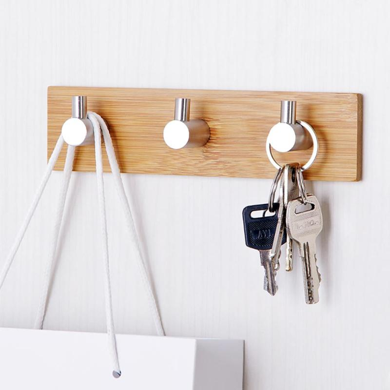 1PC Kitchen Dining Self Adhesive Coat Hanger Wood Bamboo Stainless Steel Clothes Hook Wall Bag Headphone Key Towel Hooks #ET