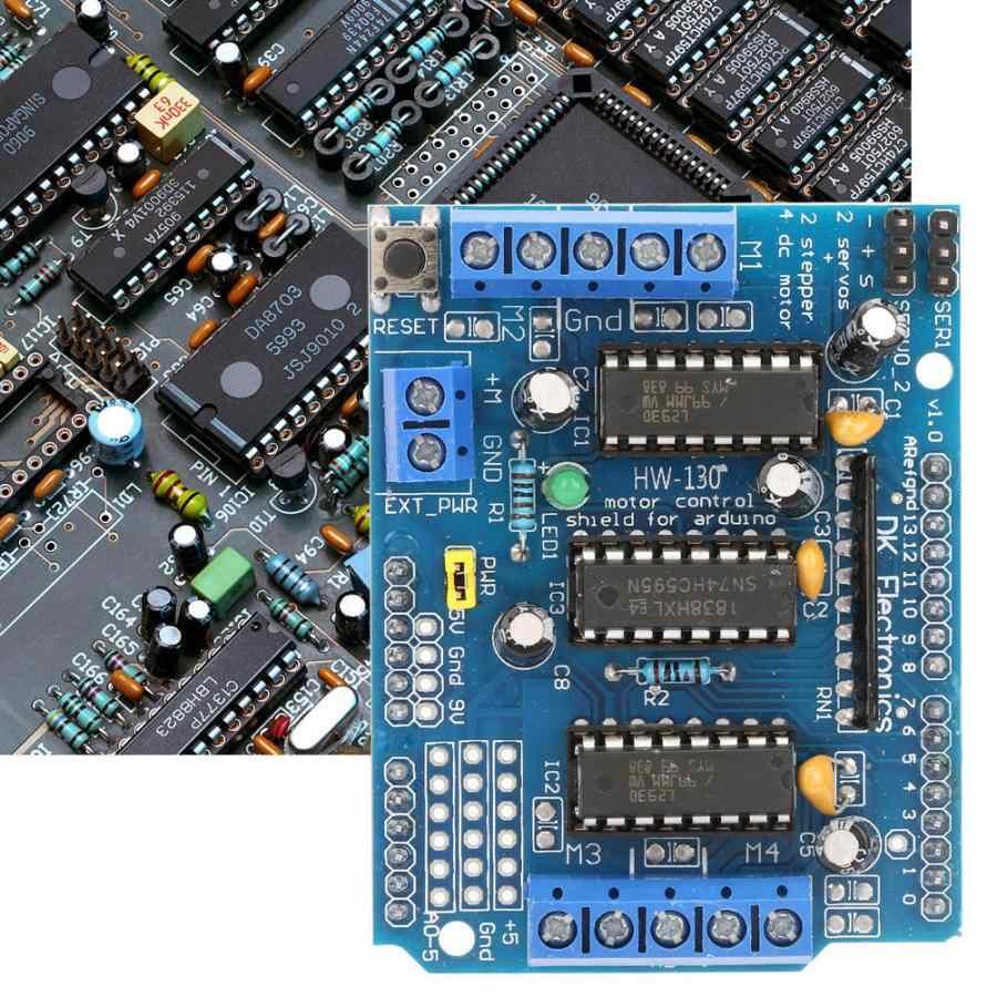 Carte d'extension d'entraînement de moteur de bouclier de contrôle de conducteur de moteur pas à pas L293D pour Arduino Duemilanove Mega UNO 4 canaux