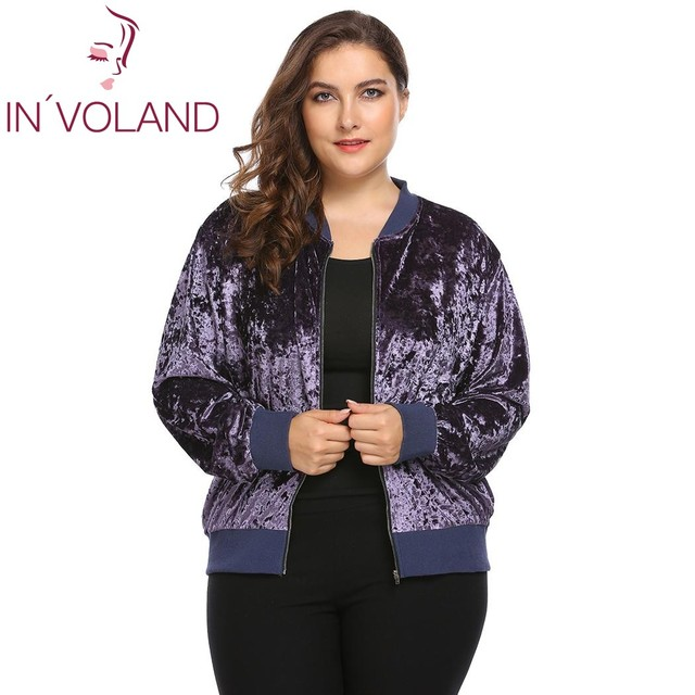 IN'VOLAND Women's Jacket Coat Big Size 2017 Autumn Spring Long Sleeve Zip Up Casual Velvet Bomber Tops Outwears Plus Size XL-5XL