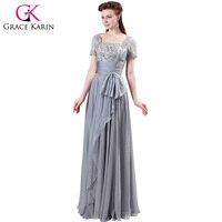 Freeshipping Grey Designer Grace Karin 1pc Lot Chiffon Lace Long Formal Evening Wedding Party Dress With