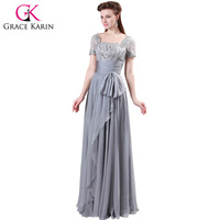 Freeshipping Grey Designer Grace Karin 1pc Lot Chiffon Lace Long Formal Evening Wedding Party Dress With