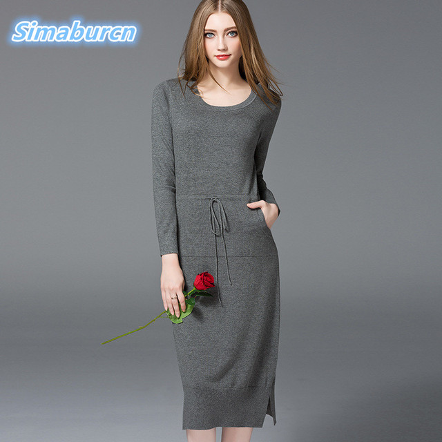 High Quality Elegant Noble Long Sleeve Knitted Casual Spring Summer Dress Women Evening Party Bodycon Lady Pencil Belt Dresses