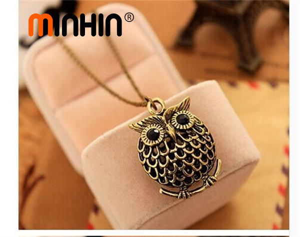 MINHIN Fashion Delicate Cute Owl Small Pendant Long Chain Necklace Women's Trendy Sweater Decoration Accessory