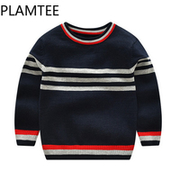 PLAMTEE 3 7Y Stripe Warm Baby Sweater Solid Color Cotton Boys Sweaters Soft Breathable Pollover Knitted