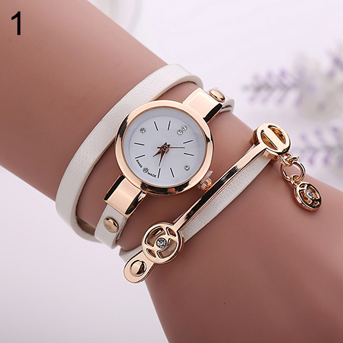 2017 New Hot Women Long Slim Faux Leather Strap Round Analog Crystal Dial Quartz Wrist Watch  6T4F women steel bangle wrist crystal round dial analog digital bracelet watch new hot selling