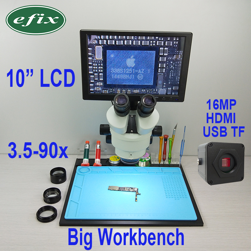 Efix 16MP 3.5-90X HDMI USB À Souder Microscope Caméra C-Monture Trinoculaire Stéréo Zoom 10 LCD workbench Stand De Réparation Outils