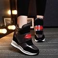 Новый 2016 весна Лето ботильоны каблуки обуви женщины повседневная обувь высота увеличение высокий верх обувь смешанные цвета Зимние сапоги