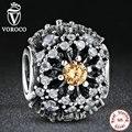 Voroco 925 sterling silver brilho interior de cor dourada sunburst padrão charme fit pandora bracelet diy jóias de ouro s176