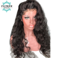 FlowerSeason Pre Plucked Wavy Brazilian Full Lace Human Hair Wigs with Baby Hair Glueless Lace Wig Remy Hair 130% Density