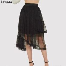 cd0edbb65 Faldas mujer moda 2019 mujer de encaje de capas irregulari de streetwear  negro de malla colmena tutu falda verano Falda plisada