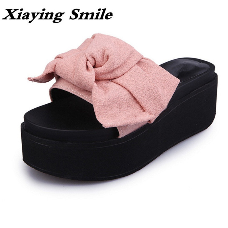 Xiaying Smile Summer Woman Slippers Solid Sandals Fashion Leisure Flats Thick Sole Bowtie Creeper Slides Slippers Women Shoes xiaying smile woman sneakers shoes women flats spring summer thick sole embroider rose lace up black white student women shoes