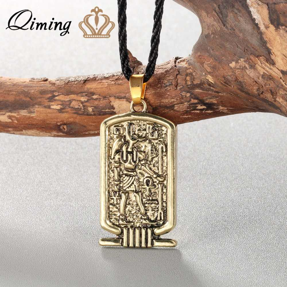 Women Anubis Pendant Necklace Ancient Egypt Religious Jewelry Egyptian Hieroglyphs Awesome Men Necklace Silver Egypt Charm