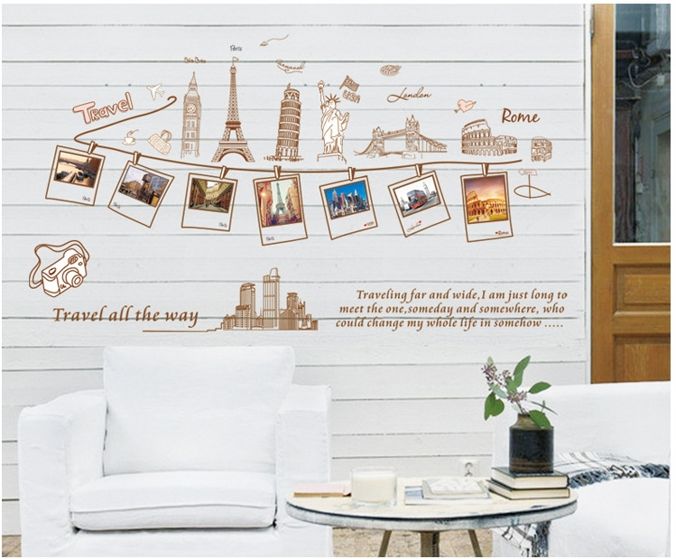 Travel Photo Frame Wall Stickers Famous Buidlings Vinyl Paper Decor Kids Teenage Home School Classroom Office Decorations