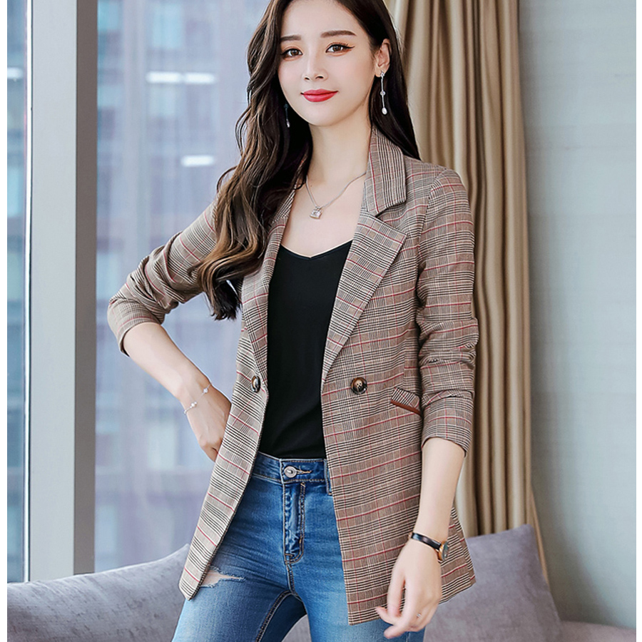women blazers and Jackets 2019 work office lady Plaid suit casual single Button female Blazer coat plus size Blazer Feminino