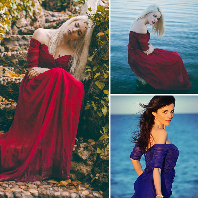 Элегантная женщина с плеча платье для выпускного вечера 2017 ep07411 когда-либо довольно пол Длина бордовый, фиолетовый, Темно-синие шифон Вечерние платья