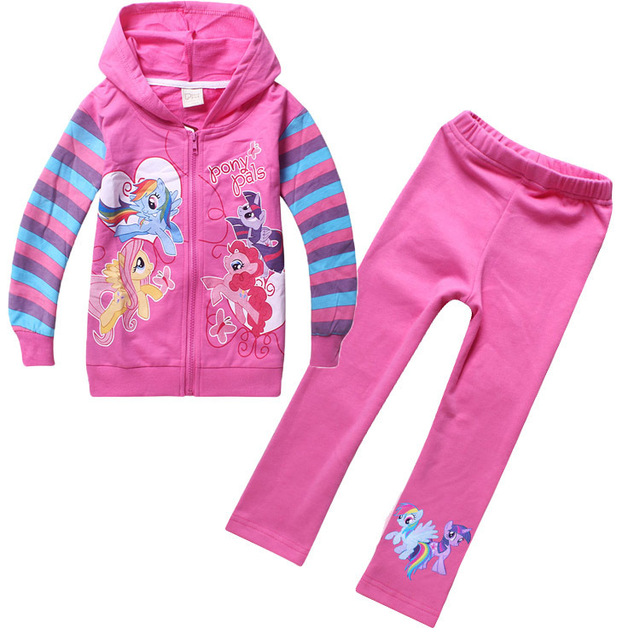 9f0da79e8035 little Pony Big Girls Sport Clothing Set Cartoon Zipper Hooded Coat+Pants  2PCS Kids Clothes Autumn Children's Tracksuit CS465