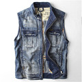 High Quality Male Retro Denim Vest Fall Fashion Mens Slim Vintage Sleeveless Jeans Jacket Denim Coats For Men  A1412