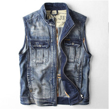 High Quality Retro Denim Vest Fall Mens Fashion Slim Vintage Washed Sleeveless Jeans Jacket Casual Denim Coats For Men A1412