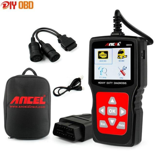 Универсальный OBD2 Автомобиля Грузовик Сканер 2 в 1 Ансель HD510 для Нескольких Брендов Грузовик Диагностический Инструмент Авто Сканер с Батареей монитор