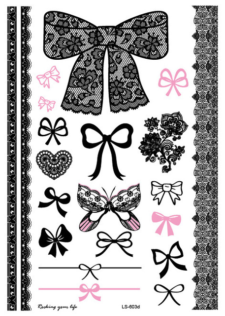 Waterproof Body Art Tattoo Sticker For Women Flowers Black Bracelet Wedding Jewelry Lace Bowknot Large Arm Tattoo LS-603