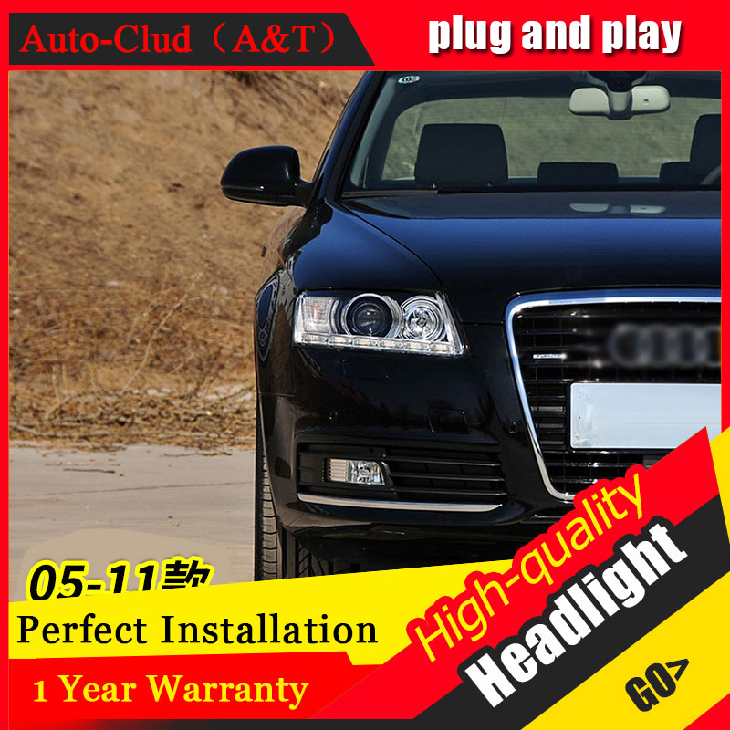 Auto Clud Car Styling For Audi A6 led headlights 05-11 For A6 head lamp led DRL front light Bi-Xenon Lens Double Beam HID KIT auto clud style led head lamp for benz w163 ml320 ml280 ml350 ml430 led headlights signal led drl hid bi xenon lens low beam