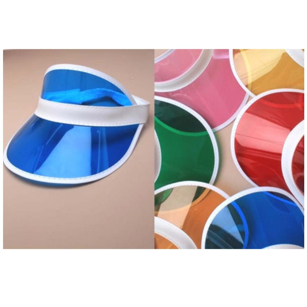 12pcs lot Neon Sun Visor Peak Cap Clear Plastic Sunvisor Party Hat Festival  Fancy Dress Poker Headband 76718a73dd9