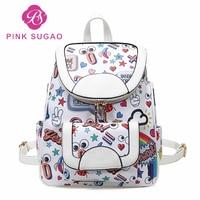 Pink sugao designer backpacks women pu leather luxury backpack new fashion school bags travel backpack flower printed hot sales