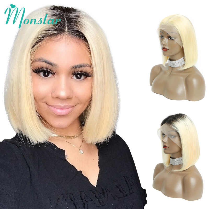Monstar 613 Blonde Lace Front Wig 13x6 Short Bob Wig Malaysian Straight Remy 1B 613 Ombre Blonde Color Lace Front Human Hair Wig