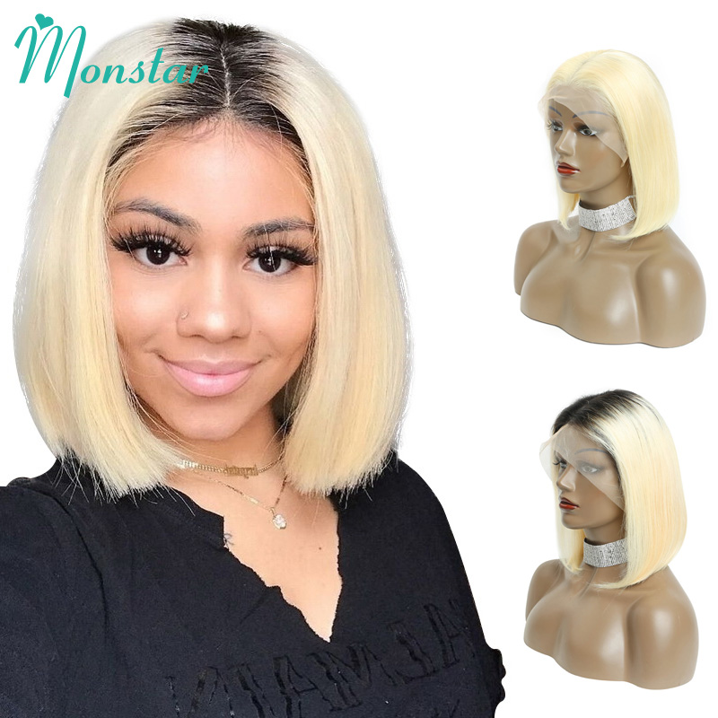 Monstar 613 Blonde Lace Front Wig 13x6 Short Bob Wig Malaysian Straight Remy 1B 613 Ombre Blonde Color Lace Front Human Hair Wig-in Human Hair Lace Wigs from Hair Extensions & Wigs    1