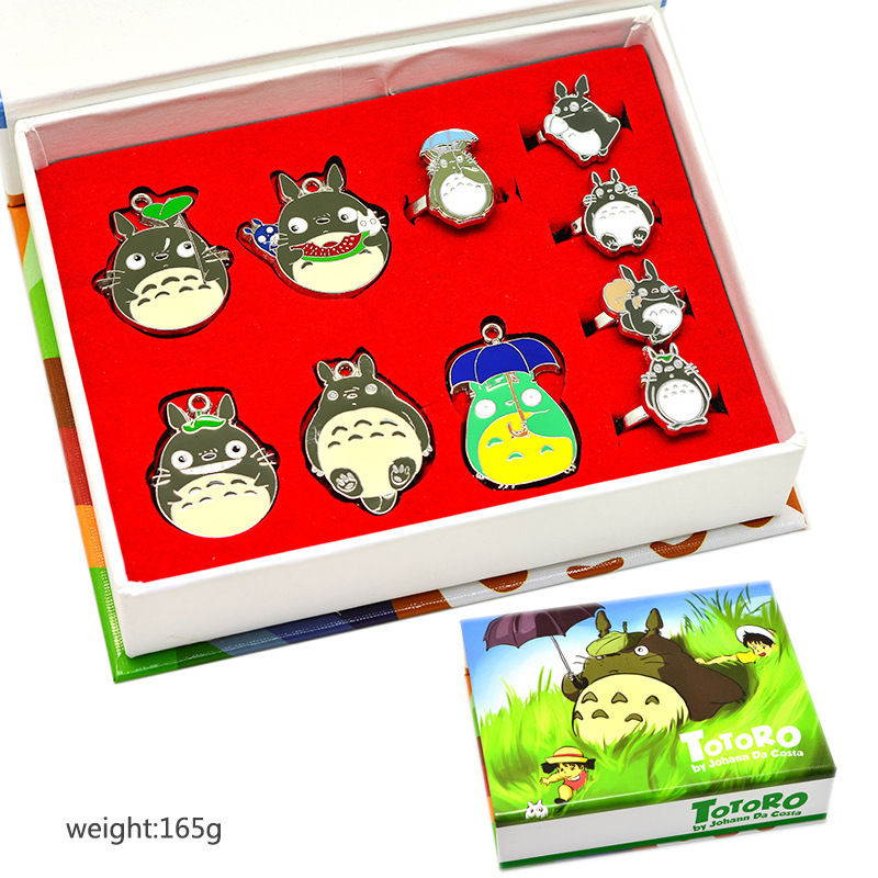 My Neighbor Totoro Necklace Pendant Rings Keychain Keyring 10pcs set Box Gift