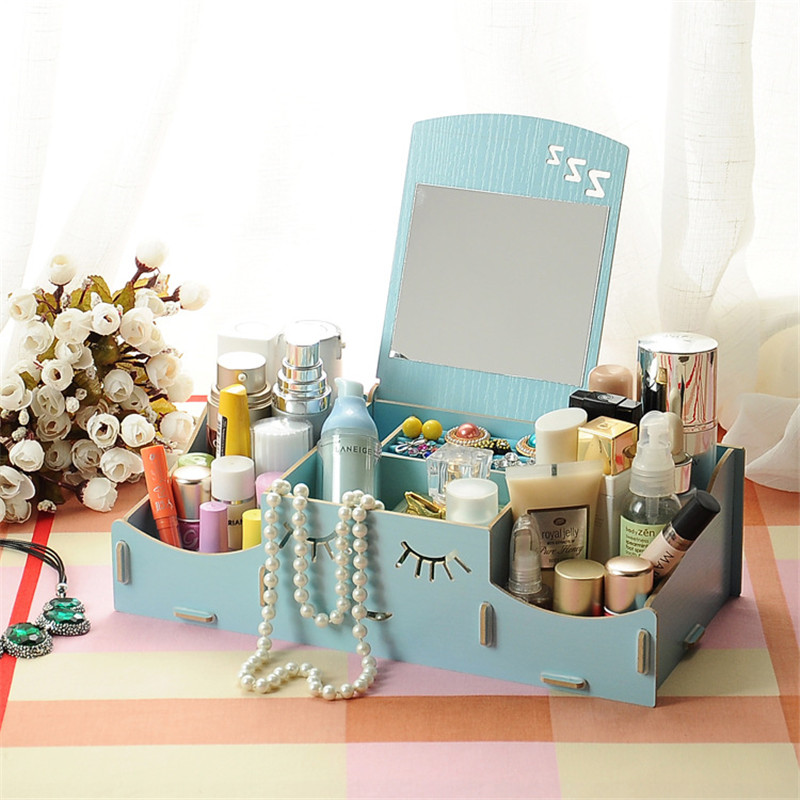 Wooden Cosmetic Box Cute Cat Pen Box Desktop Storage Assembly DIY Wood Makeup Organizer Jewelry Storage Box