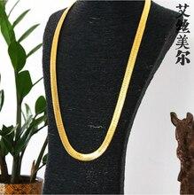 Alta calidad Collar W1 ~ 1.4 CM L76CM 24 K chapado en Oro Enlace de La Cadera Hop Franco Cadena Serpiente ASAP ROCKY HERRINGBONE Mismo Estilo Para estrella
