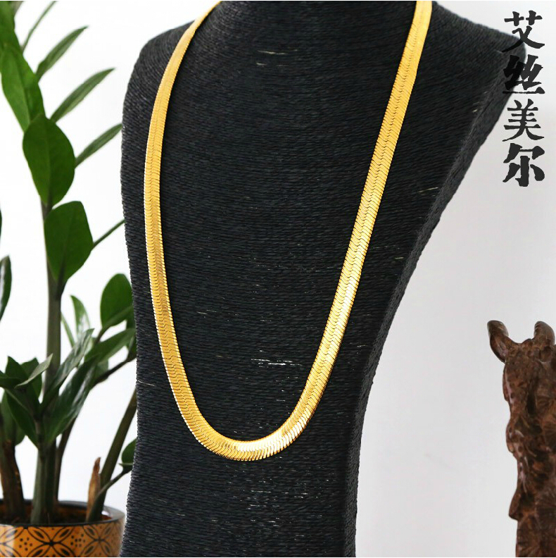 Jhnby High Quality Necklace L76cm Gold Color Plated Link