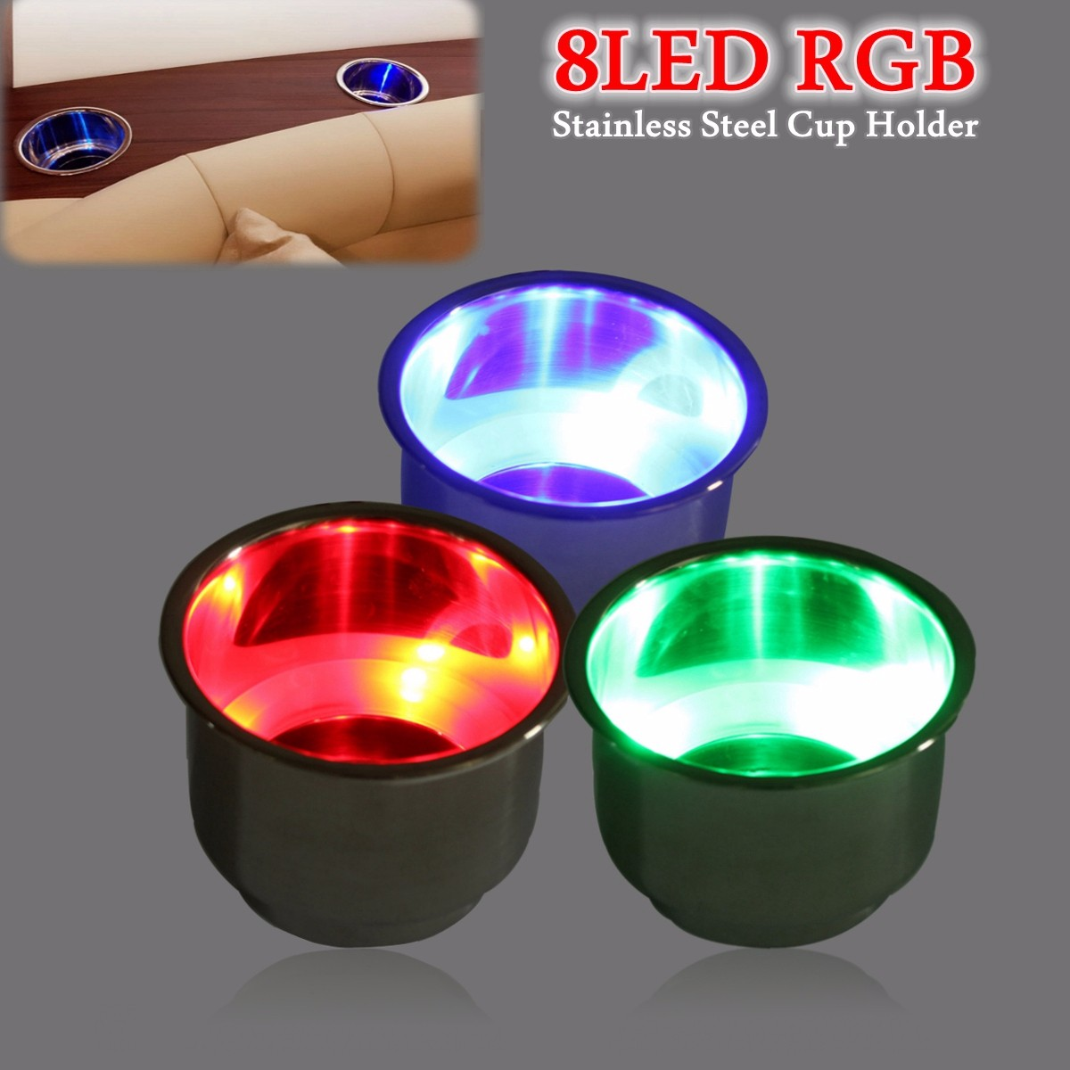 8 led rgb recessed stainless steel cup drink holder for marine boat car for camper in drinks. Black Bedroom Furniture Sets. Home Design Ideas