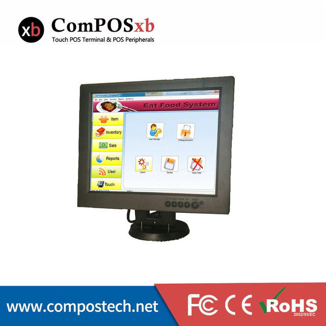 "direct sale 12"" all in the  PC touch screen monitor POS system black TM1201 for supermarket,restaurant"