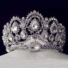 Joyería de plata Vintage Accesorios nupciales para el cabello de diamantes de imitación coronas grandes para desfile de cristal boda reina Prom Tiaras para la novia