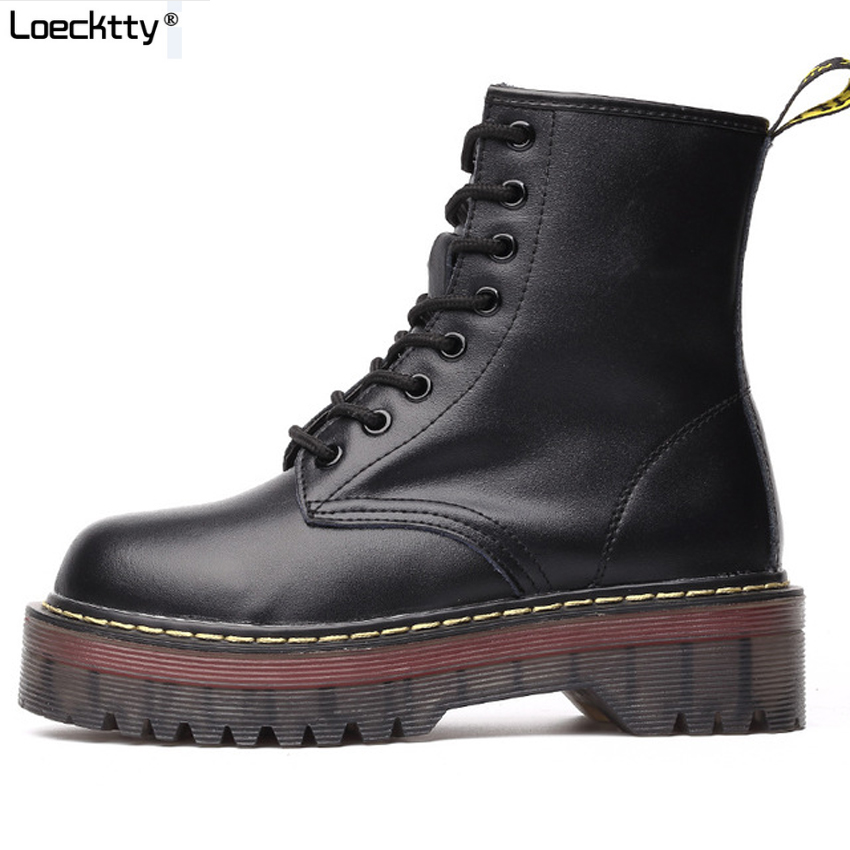 Loecktty 2019 Chunky Motorcycle Boots For Women Autumn 2019 Fashion Round Toe Lace-up Combat Boots Ladies Shoes