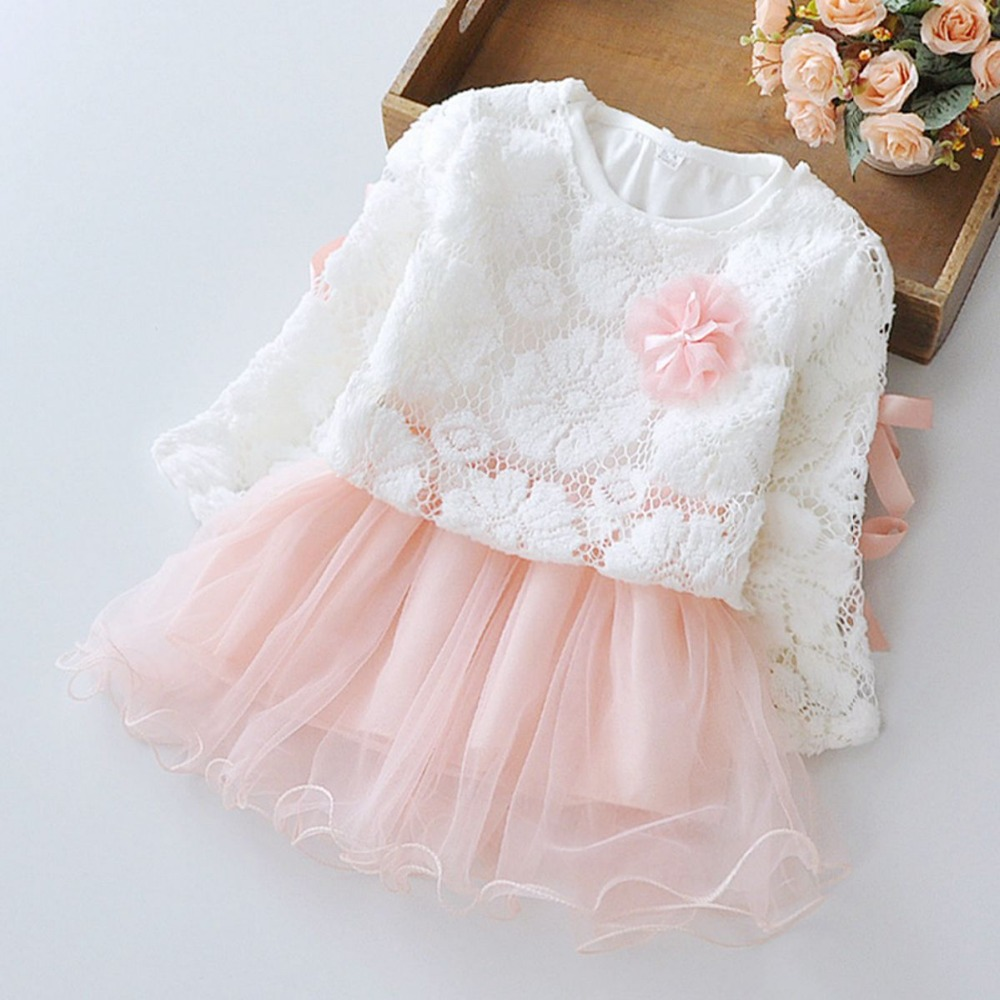 Spring Long Sleeved Flower Bow Infant Kids Baby Bebe Girls Lace Tops+Dresses Two Pieces Princess Tutu Birthday Party Dress MT596
