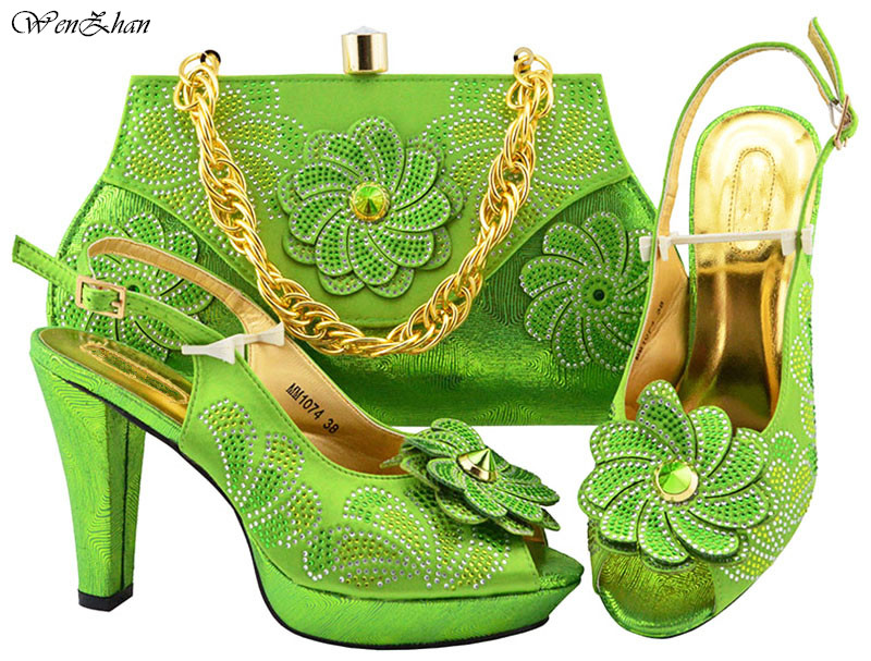 Hot Selling To Match Italian African High Heel Shoe and Bag Sets Lemon Green Women Shoe and Bag Sets .For Wedding Parties B89-22 doershow shoe and bag to match italian african shoe and bag sets women shoe and bag to match for parties african shoe htx1 18