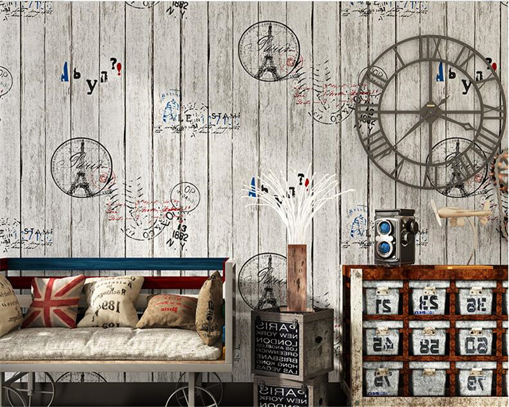 beibehang American Village Retro Nostalgic Wallpaper French Tower Living Room Bedroom Background PVC  papel de parede wall paper  недорого