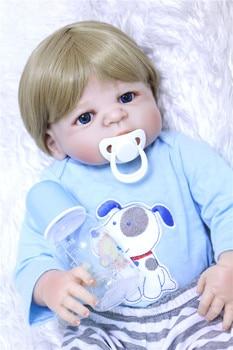 "Real bebe boy reborn baby dolls 22"" full body silicone reborn dolls for children gift toddler girl alive bonecas brinquedos"