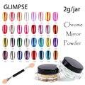 VISIÓN de la Marca 3g jar 16 colores magia brillo del clavo de metal Cromo Pigmento Lentejuelas Espejo Polvo de uñas de arte para el gel esmalte de uñas